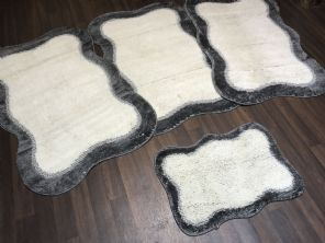 GYPSY TRAVELLERS MATS  4PCS NON SLIP NEW DESIGN SUPER THICK CREAM/GREY BARGAINS (1)